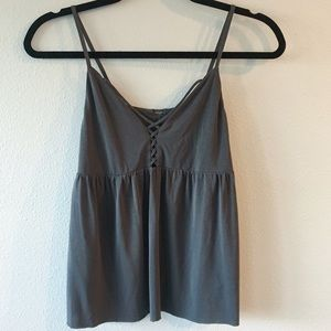 AE Gray Soft & Sexy Sueded Flowy Lace Up Tank